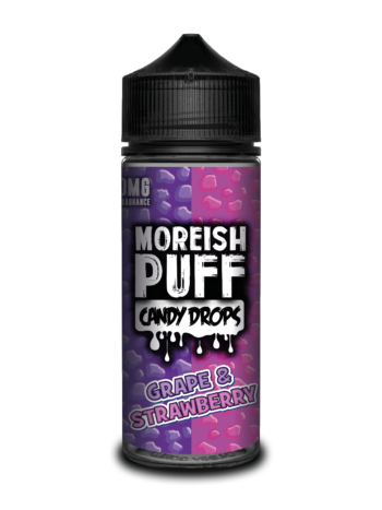 e-liquid bottle: Moreish Puff Candy Drops Grape and Strawberry 120ml Shortfill