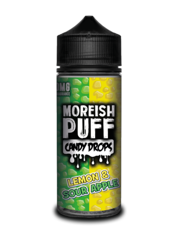 e-liquid bottle: Moreish Puff Candy Drops Lemon and Sour Apple 120ml Shortfill